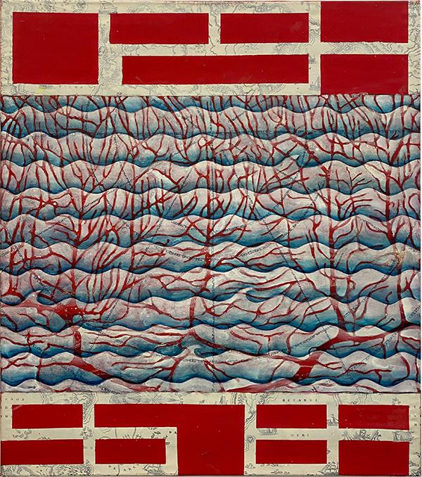 """Cristina Barroso, 2021, """"Entfernungen"""", Acryl auf Leinwand, 80 x 70 cm"""