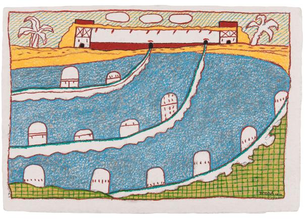 Titelfindungsinternat, 2017, 44x65 cm, Farbstift auf Büttenpapier